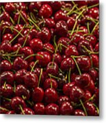 Fresh Red Cherries Metal Print