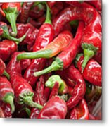 Fresh Red Chili Peppers At Local Street Market In Dunhuang China Metal Print