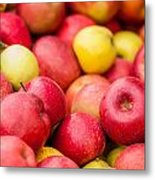 Freshly Harvested Colorful Crimson Crisp Apples On Display At Th Metal Print