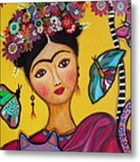 Frida Kahlo And Her Cat Metal Print