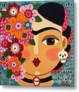 Frida Kahlo With Flowers And Skull Metal Print