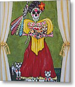 Frida Kahlo With Her Pets Metal Print