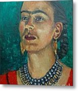 Frida Teal Metal Print by Lilibeth Andre
