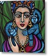 Frida's Monkeys Metal Print by Victoria De Almeida