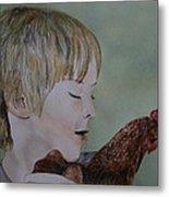 Friendly Chicken Metal Print