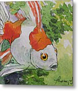 Friendly Fantail Tiny Goldfish Painting Metal Print