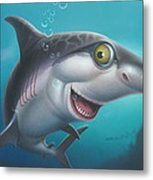 friendly Shark Cartoony cartoon under sea ocean underwater scene art print blue grey  Metal Print