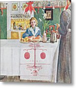 Friends From The Town - Dining Room Metal Print