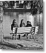 Friends In Black And White Metal Print