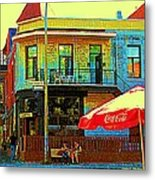 Friends On The Bench At Cartel Street Food Mexican Restaurant Rue Clark Art Of Montreal City Scene Metal Print