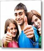 Friends Showing Thumb Up Sign Metal Print