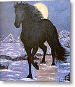 Friesian Horse Blue Moonlight Setting Metal Print
