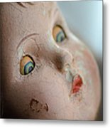 Frightened Vintage Doll Face Metal Print