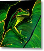 Frog And Leaf Metal Print