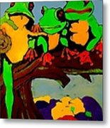 Frog Family Hanging Out On A Limb Metal Print