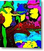 Frog Family Hanging Out On A Limb3 Metal Print