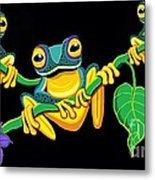Frogs On Vines Metal Print