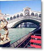 From A Gondola Near Rialto Bridge Metal Print
