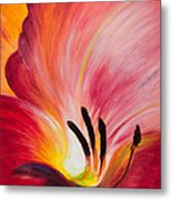 From The Heart Of A Flower Red I Metal Print