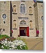 Front Of Sainte-famille Church On Ile D'orleans-qc Metal Print