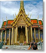 Front Of Thai-khmer Pagoda At Grand Palace Of Thailand In Bangkok Metal Print