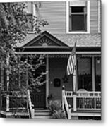 Front Porch Usa Black And White Metal Print
