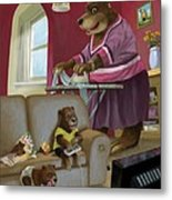 Front Room Bear Family Son Playing Computer Game Metal Print