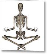 Front View Of Human Skeleton Meditating Metal Print