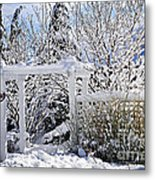 Front Yard Of A House In Winter Metal Print