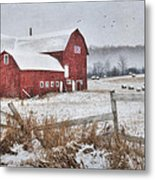 Frosted Hay Bales Metal Print