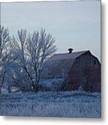 Frosty Barn Metal Print
