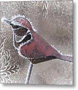 Frosty Cardinal Metal Print