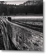 frosty fence in rural Indiana Metal Print