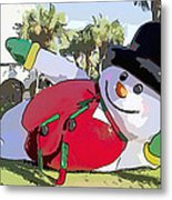 Frosty Is Here Metal Print