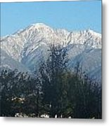 Frosty Mountain Top View From Rancho Cucamonga Ca. Metal Print