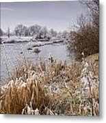 Frosty River Tyne Metal Print