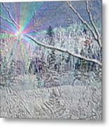 Frosty Window Distant Sun Metal Print