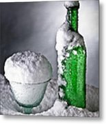 Frozen Bottle Ice Cold Drink Metal Print