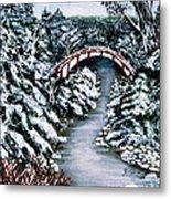 Frozen Brook - Winter - Bridge Metal Print