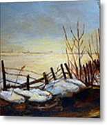 Frozen Lake Near Ste. Adele Metal Print