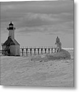 Frozen Lighthouses In Michigan Metal Print