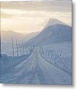 Frozen Mountain Road Metal Print