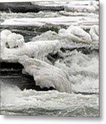 Frozen Niagara River Rapids Above Niagara Falls Metal Print