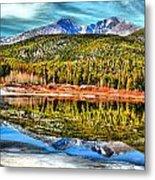 Frozen Reflection On Lily Lake Metal Print by Rebecca Adams