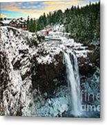 Frozen Snoqualmie Falls Metal Print