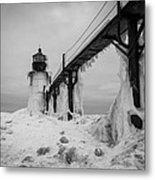 Frozen St. Joseph Lighthouse Metal Print