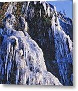 Frozen Waterfall On Oregon Central Coast Metal Print