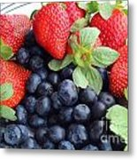 Fruit 2- Strawberries - Blueberries Metal Print