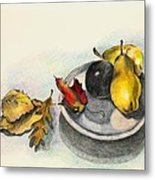 Fruit And Autumn Leaves Metal Print