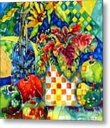 Fruit And Coleus Metal Print by Ann  Nicholson